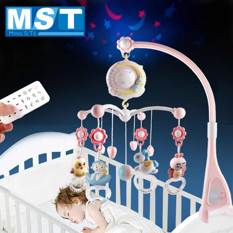 Baby Rattles Crib Mobiles Toy Holder Rotating Crib Bed Bell With Music Box Projection For 0-12 Months Newborn Infant