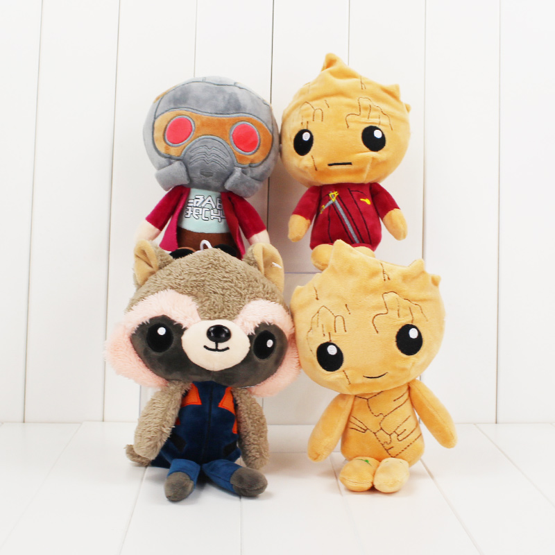 4Styles 20cm Guardians Galaxy Rocket Raccoon Guardian Star Lord Tree Man Baby Plush Toy Stuffed Animals