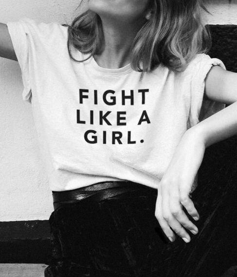 Hahayule Kampf Wie Ein Mädchen Feminismus Slogan T-shirt Frauen & #39; S Casual Sommer Tops Weiß T Clear-Cut-Textur T-shirts Frauen Kleidung & Zubehör
