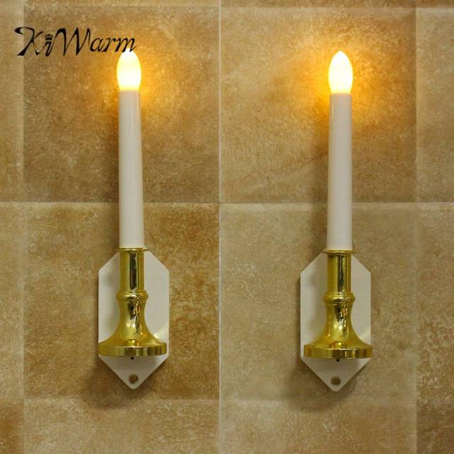 Kiwarm 2pcs Solar Led Candle Light Automatic Sensing Outdoor Waterproof Wall Lamp Window Decorthanksgiving Christmas Party