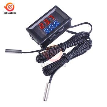 DC 12V 24V Digital Thermometer Temperature Sensor w/ Dual NTC Metal Waterproof Probe temperature tester DC 4-28V Car Room Indoor