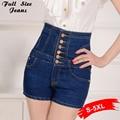 2017 женщин высокий класс одной грудью короткие джинсы женские высокой талией джинсы шорты джинсы плюс размер 3XL 4XL 5XL Sml Бесплатная доставка