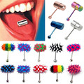 Fashion Women Men Rock Personality Vibrating Tongue Ring Body Piercing Jewelry With 2 Batteries plugs and tunnels body jewelry