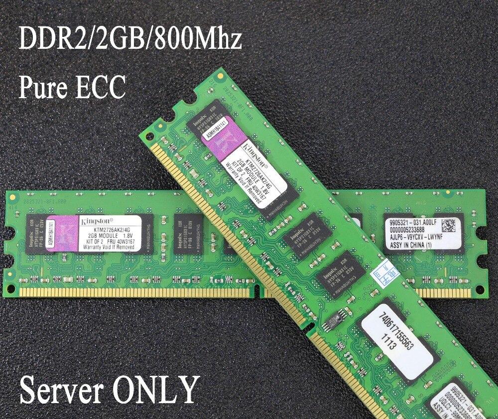 D'origine Kingston DDR2 de mémoire de Serveur 2 GB 2G pur ECC 800 MHz 800 PC2-6400E UIMM RAM 240pin 6400 2G 2Rx8 serveur