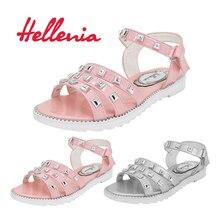 Helleniagirls Sandalen Sommer Kinderschuhe Low Heels Kleid Party rosa grau Kinderschuhe für Mädchen Flache Prinzessin Schuhe Größe 32-37