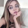 2017 Designer de Marca de Óculos Quadros Mulheres Óculos de Moda Com Lentes Claras de Ouro de Metal quadros de Óculos Feminino Óculos de Computador