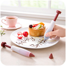 1Pcs Pastry Cream Chocolate Decorating Syringe Silicone Plate Paint Pen Cake Cookie Ice Cream Decorating Pens cheap CE EU Cake Tools Disposable Eco-Friendly Plastic