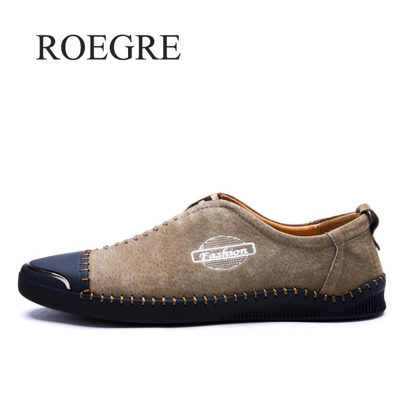 ROEGRE Brand 2018 New Comfortable Casual Shoes Loafers Men Shoes Quality Split Leather Shoes Men Flats Hot Sale Moccasins Shoes bexzxed new brand fashion comfortable men shoes lace up solid leather shoes men causal huarache shoes hot sale