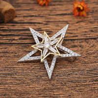 Nova jóias de noiva dupla estrela modelo criativo design rotativo zircão cúbico cz broche para presente da mulher alta qualidade x00243