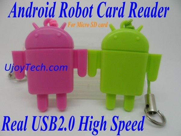 Wholesale 50pcs/lot Android Robot Micro SD Card Reader High Speed Real USB 2.0 TF Card Reader Mobile Phone Strap Free Shipping