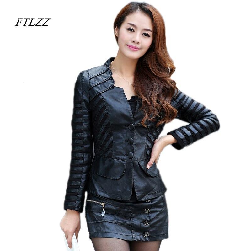 FTLZZ Fashion Spring Women Pu   Leather   Jacket Slim Motorcycle Jacket Femininos Plus Size 4xl Elegant Punk Coat Biker Outwear