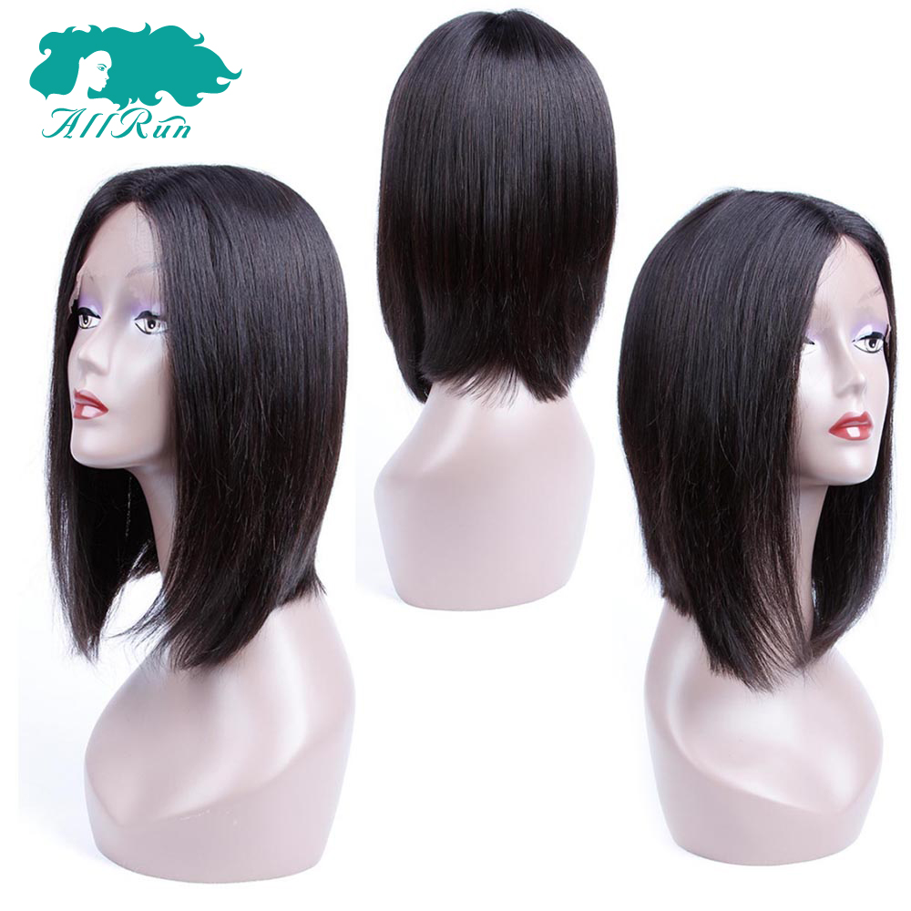 ALLRUN Straight Malaysia Hair Wigs Short Bob Lace Front Wigs Natural Color with baby hair 8-18 Inches Remy Hair Extension