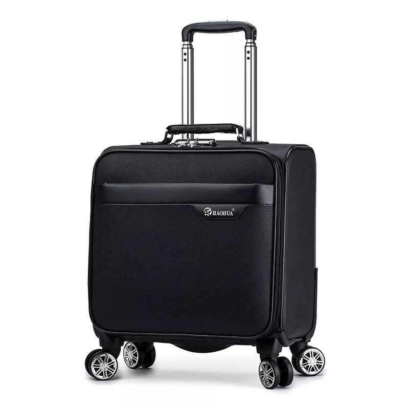 Bagaj ve Çantalar'ten Bavullar'de Yeni Retro şerit 18 inç 100% PU Haddeleme Bagaj çantası mala Spinner marka Renkli Bavul Kadın sevimli Seyahat çantası Arabası bavul'da  Grup 1