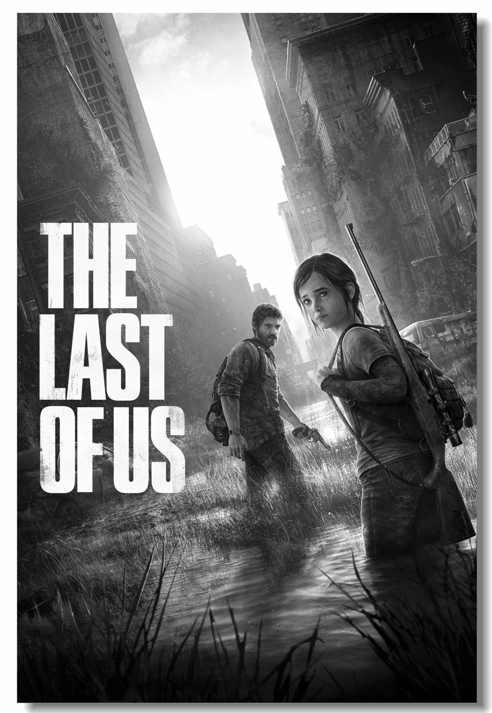 Us 559 30 Offcustom Canvas Wall Decor The Last Of Us Video Game Poster Joel Ellie Wallpaper Black And White Wall Stickers Office Mural 0575 In