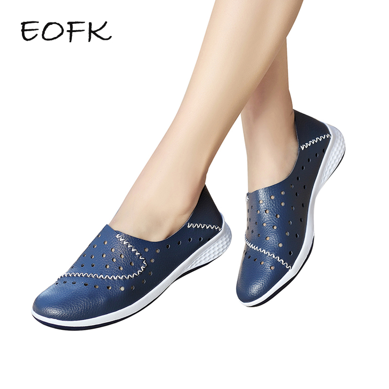 EOFK 2019 Handmade New Summer Hole Loafers Women Flat Leather Moccasin Shoes Woman Slip On Ladies
