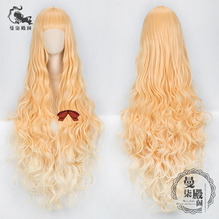 SINoALICE Cosplay Wig Alice Red Riding Hood Blonde Yellow Long Curly Hair Gradient Color curly long hair brown wig hood for women