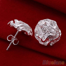 5 Pairs Fashion Womens Silver Plated Jewelry Rose Flower Studs Earrings