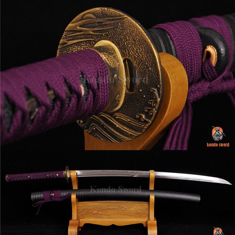 Autentická japonská samurajská mečová hlína temperovaná dvojitá drážka Blade Sharp