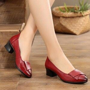 Image 4 - Gktinoo 2020 nova primavera outono couro genuíno feminino ol sapatos de festa meados saltos sapatos trabalho mocassins dedo do pé apontado sapatos femininos