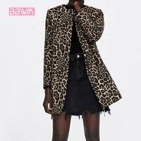 Pocket Elegant Women's 2018 Winter Leopard Round Neck Long Sleeve Slim Windproof Warm Women's Jacket