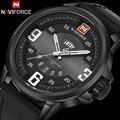 Homens sport watch naviforce marca de luxo dos homens de quartzo militar relógios moda casual pulseira de couro auto data 30 m relógios à prova d' água