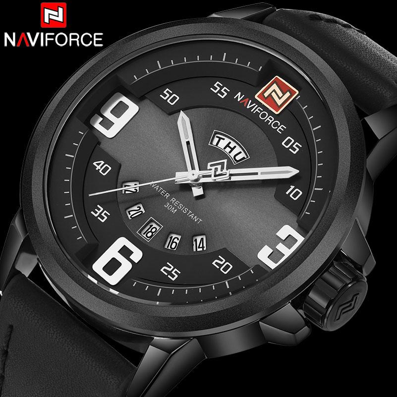 Prix pour Hommes sport montre naviforce de luxe marque hommes militaire montres à quartz mode casual bracelet en cuir auto date 30 m étanche montres