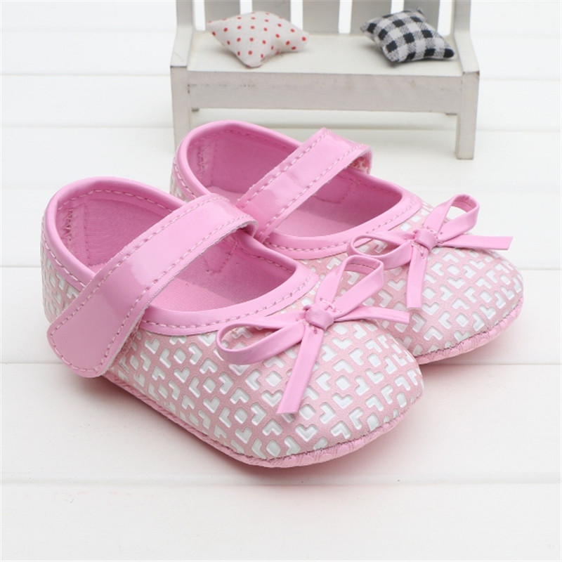 Fashion Plaid PU Leather Baby Moccasins Soft Sole Pink Bowknot Baby Girl Shoes Newborn Infant Crib Shoes 0-18M Free Shipping