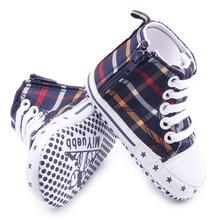 Новое Прибытие 2 Цвета Zip Дизайн Легко Носить Противоскользящие Плед Холст Новорожденный Мальчик Тапки Ботинок Холстины 0-12 Месяцев