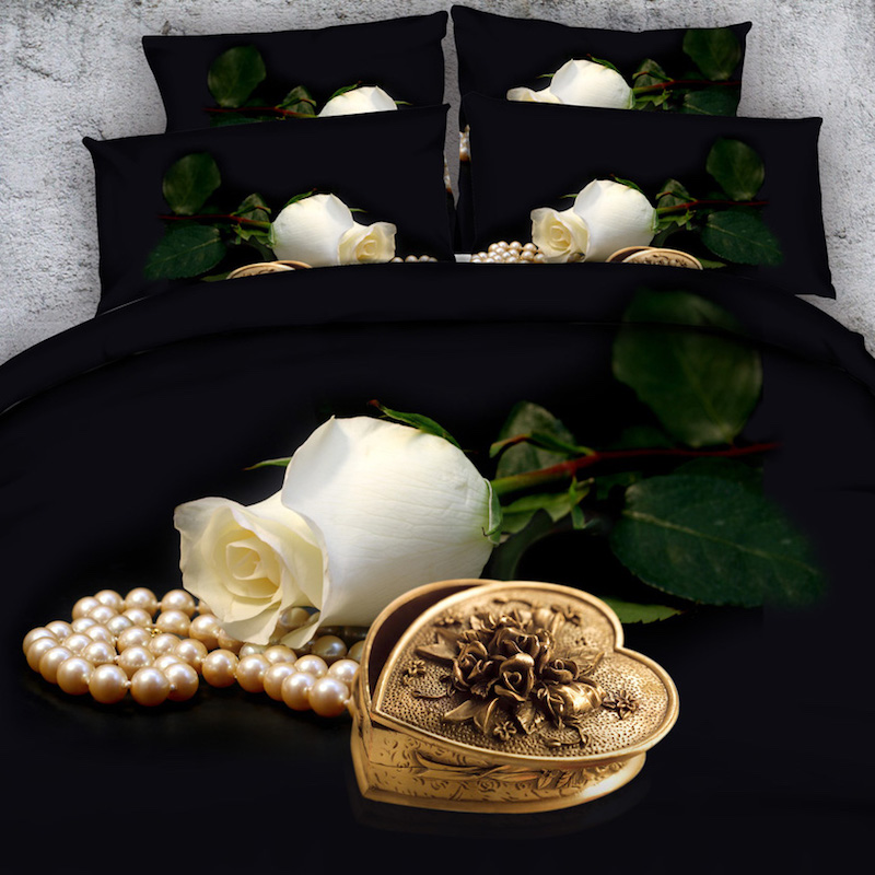 Royal Linen Source 4 Parts Per Set Pure White Rose Bud and Jewellery 3d bed Sheet set with Bed Cover Blanket coverRoyal Linen Source 4 Parts Per Set Pure White Rose Bud and Jewellery 3d bed Sheet set with Bed Cover Blanket cover
