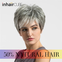 Inhair Cube Women Wigs Fluffy Multi Layered Hair Short Straight Silver Grey Wigs Mixed Natural Hair With Bangs