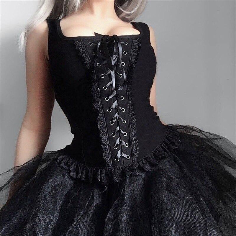 Punk T Shirt Fashion Women Sleeveless Black Loose T shirt Gothic Sexy Club Party Tops