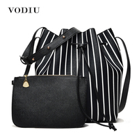 Women Bags Leather Over Shoulder Sling Messenger Crossbody Summer High Quality Bucket Drawstring Stripe Casual Female