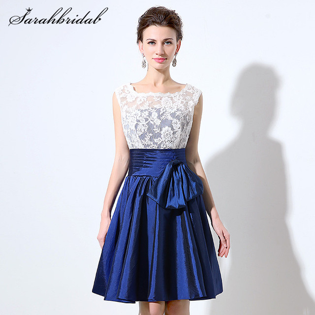 57f3e4473f7e Youthful Navy Blue Taffeta Bridesmaid Dresses White Lace Short Knee-Length  Prom Gown for Wedding
