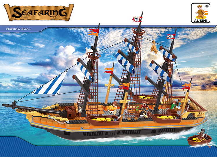 Model building kits compatible with lego pirates series 097 3D blocks Educational model & building toys hobbies for children model building kits compatible with lego city pirates ship donald cook 827 3d blocks educational toys hobbies for children