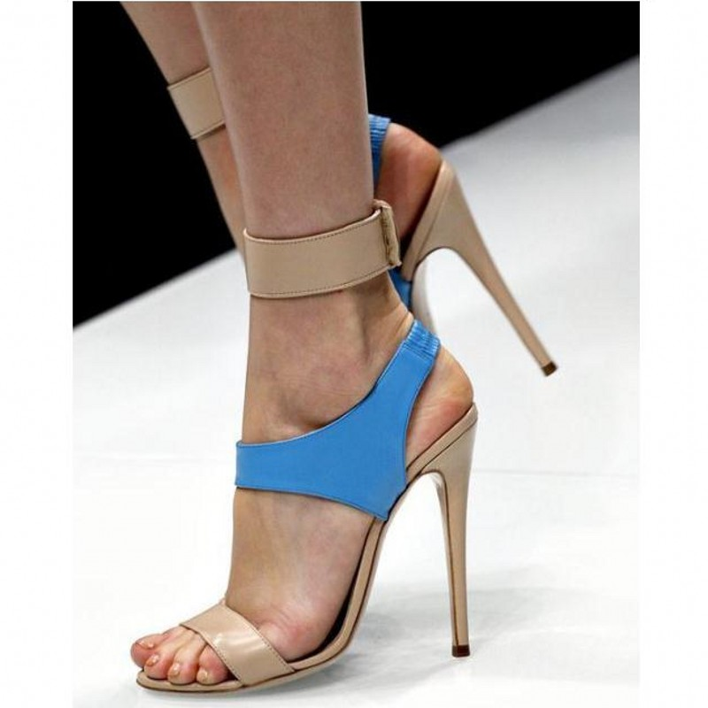 Sandales femme d'été couleur assortie talons hauts ligne fermoir élastique creux peep-toe chaussures pour femmes sexy