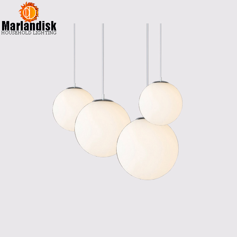Modern Indoor Pendant Lights E27 White Glass Ball Led Suspension Lamp Living Room Dining Room Bar Home Lighting Hanging Lamps modern glass ball branching bubble pendant chandeliers for dining room living room chandelier lighting lustre e27 led lamp