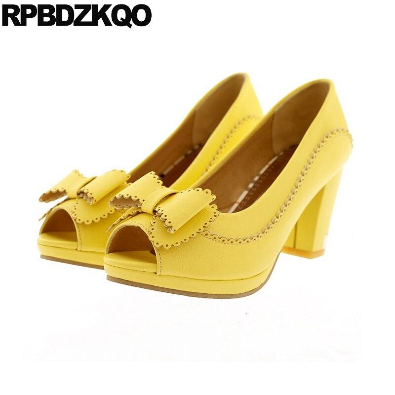 High Heels Round Toe 10 42 Peep Big Size Pink Japanese Bow Women Fashionable Ladies Yellow Shoes For Wedding Chunky 4 34 Pumps недорго, оригинальная цена