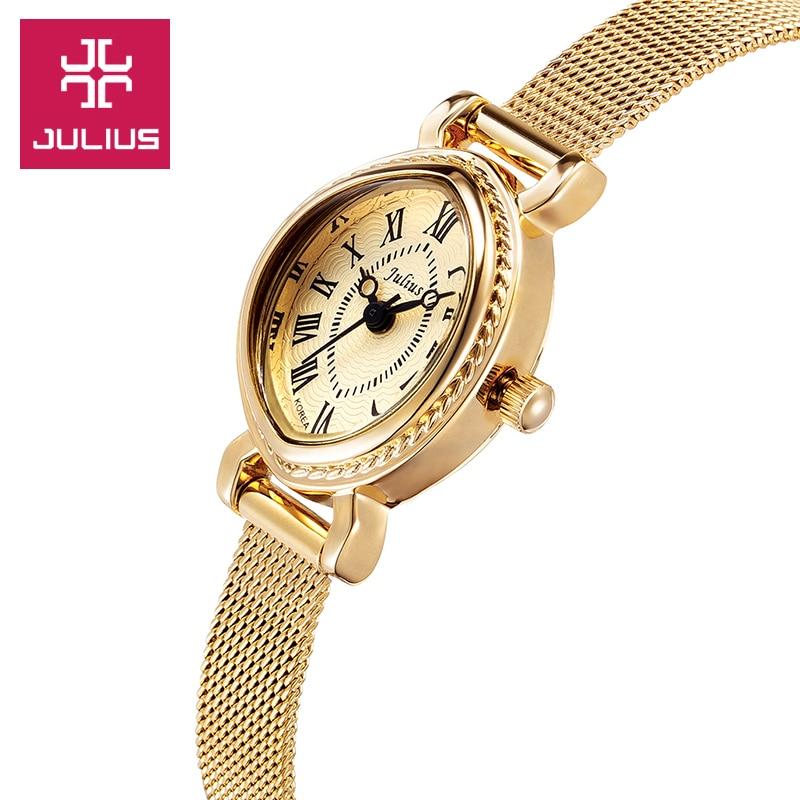 Top Julius Lady Woman Wrist Watch Elegant Retro Fashion Hours Dress Bracelet Chain School OL Girl Birthday Gift JA-568