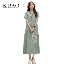 Summer Cotton Linen Dress Loose Chinese Traditional Dresses O-Neck Women Sundress Female Ethnic Clothing Maxi Dress