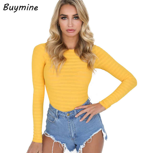 placeholder Yellow See Through Sexy Bodysuit Women Long Sleeve Bottom  Tshirt Bodysuit New Button Crotch Skinny Fitness 21906222d