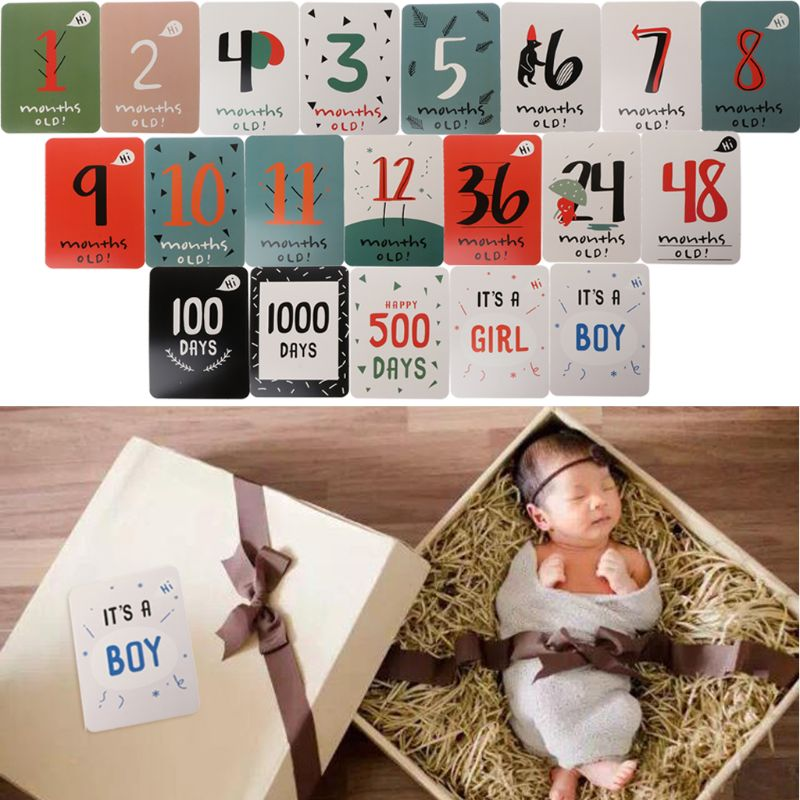 Sticker Memory Milestone-Cards Monthly Baby Pregnant-Women Photograph For Fun 1-12 20pcs/Set