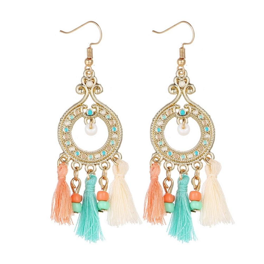 1 Pair Fashion Bohemian Earrings Women Long Tassel Fringe Boho Dangle Earrings Jewelry 5 Color