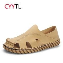 CYYTL/Новинка года; летние дышащие мужские сандалии; кожаная повседневная мягкая Уличная обувь для мужчин; пляжные сандалии; zapatos hombre; удобные