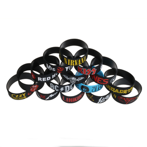 Image 5 - 50PCS/Lot Rock Bands Silicone Bracelets Wide Size Punk and Hard Metal Wristbands