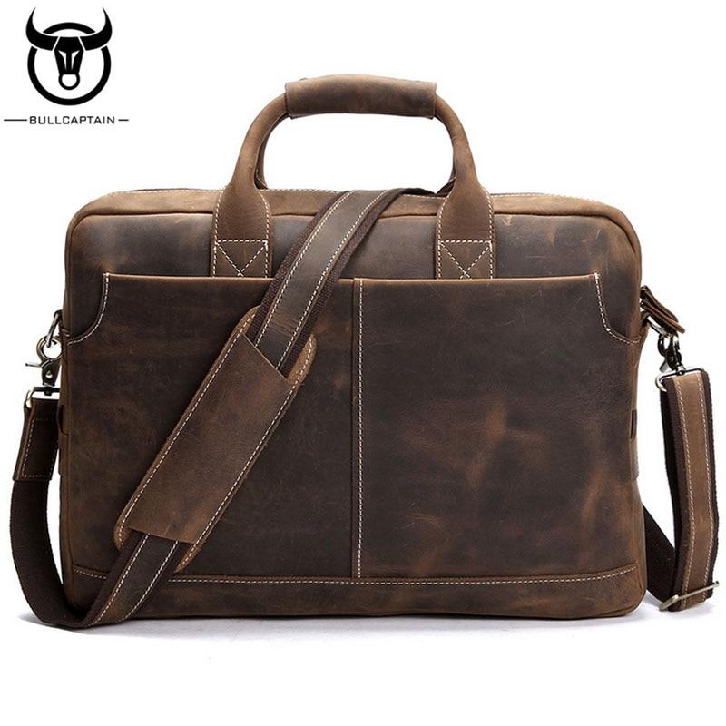 BULLCAPTAIN Men Crazy Horse Cowhide Computer Tote Handbag Famous Brand Briefcase Messenger Bags Men Business Sling Shoulder Bag цена и фото