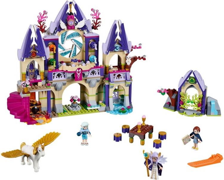 Lecgos 41078 Elves Azari/Farran/Emily Jones Sky Castle Fortress Building Block  Toys for child xmas gift 2017 10415 elves azari aira naida emily jones sky castle fortress building blocks toy gift for girls compatible lepin bricks