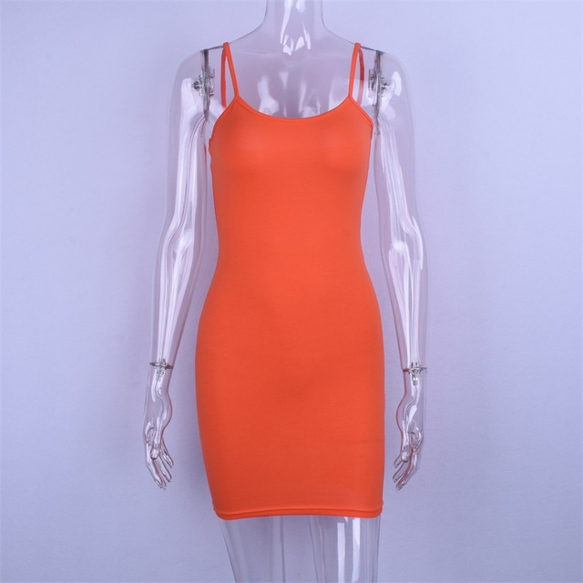 Bodycon fit orange slip mini dress