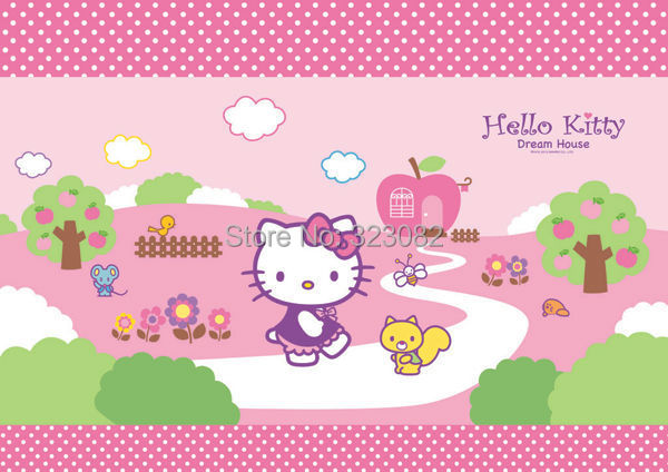 Animated Character Hello Kitty Photo Murals 3d Wallpaper Modern Tv