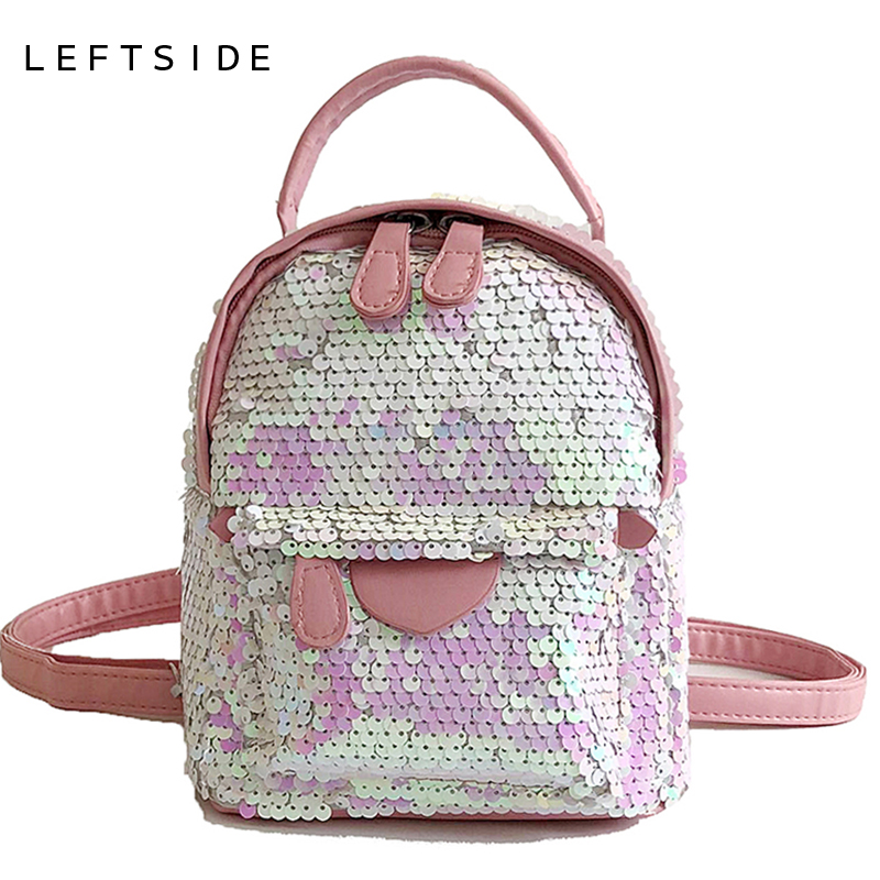 LEFTSIDE Sequins Women 2018 MINI Backpacks School Bags For Girls Bling Small Backpack Female Shoulder Bag Back Pack Black Silver