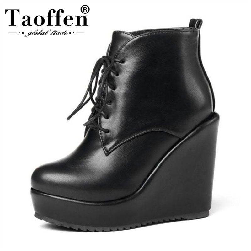 Taoffen Women Shoes High Wedges Boots Platform Shoes Lace Up Warm Fur Shoes Women Winter Ankle Boots Sexy Party Shoes Size 32-43Taoffen Women Shoes High Wedges Boots Platform Shoes Lace Up Warm Fur Shoes Women Winter Ankle Boots Sexy Party Shoes Size 32-43